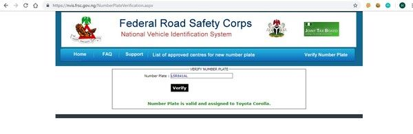 FRSC vehicle check results