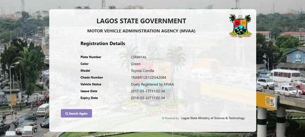 Lagos MVAA vehicle tracker