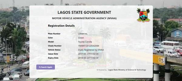 Lagos MVAA vehicle tracker