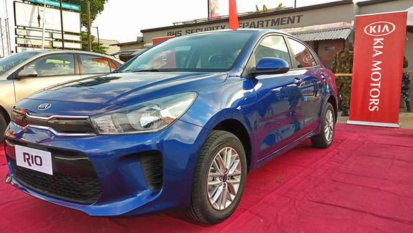 angular front of the Kia Rio at 2018 Lagos international trade fair