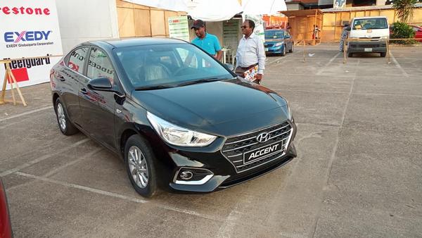 angular front of Honda accent at 2018 Lagos International Trade Fair