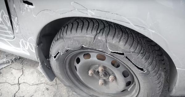 a broken tire