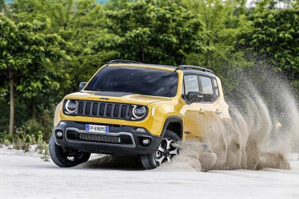 a yellow Jeep Renegade car