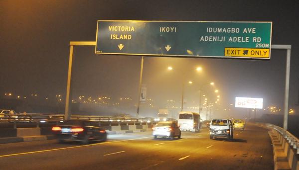 The traffic on the Third Mainland Bridge, the longest bridge in West Africa at night