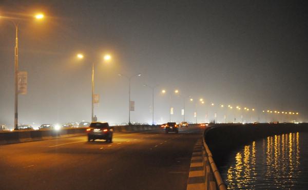 The scene of the Third Mainland Bridge, the longest bridge in West Africa at night