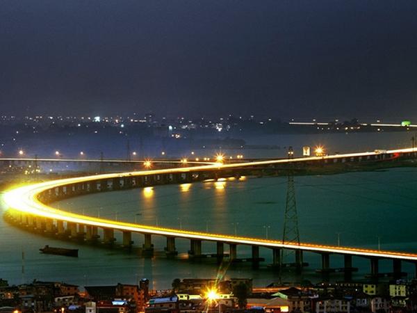 The Third Mainland Bridge, the longest bridge in West Africa at night