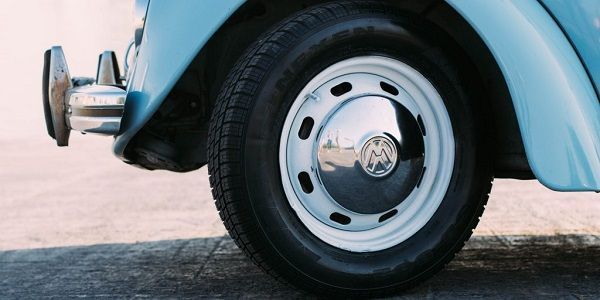 Image of a Volkswagen beetle car tire