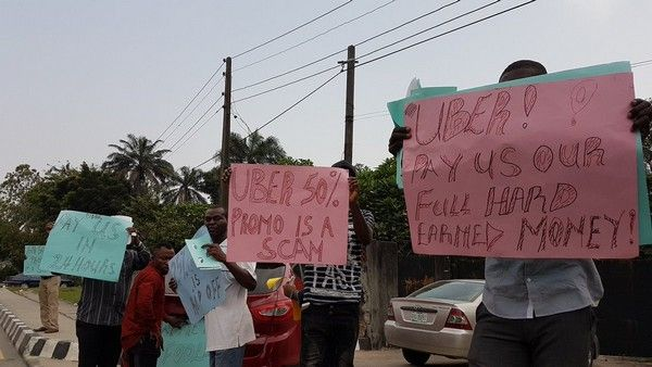 Lagos-Uber-drivers-on-protest