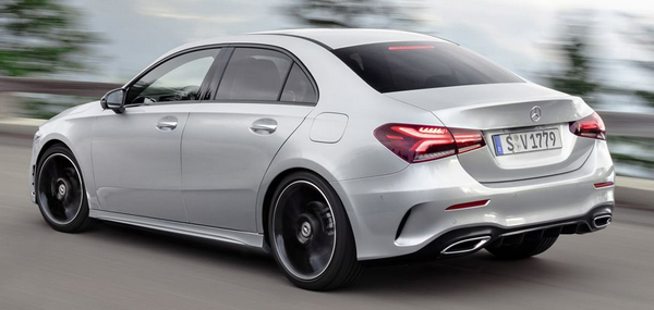 The angular rear of the Mercedes-Benz A-Class 2019