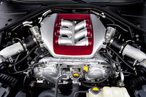 The engine part under the hood