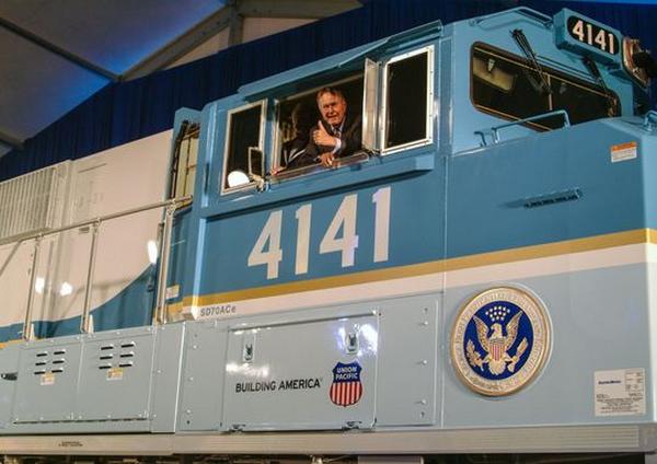 George Bush snr in the Union Pacific 4141
