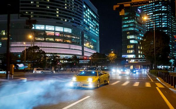 a Lamborghini on the street of Japan