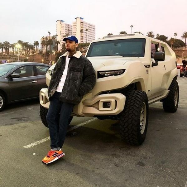 Chris Brown and his bulletproof army truck