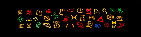 The dashboard warning lights