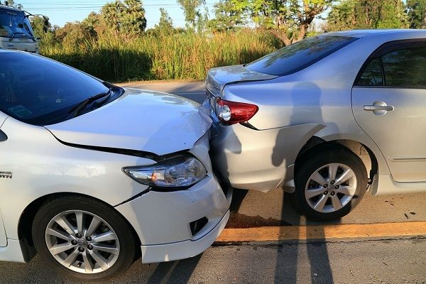 Two-cars-in-a-rear-ended-accident