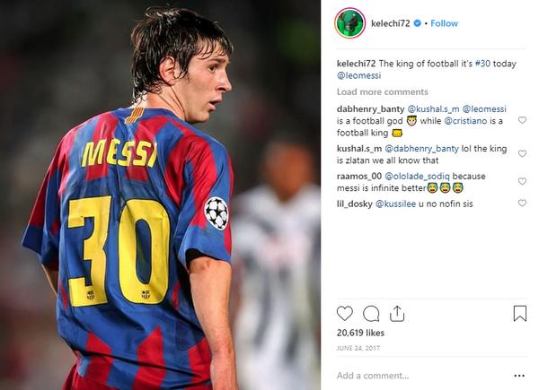 Iheanacho's-post-to-celebrate-Messi's-30th-birthday