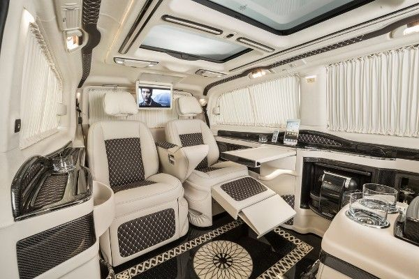 The beige-theme interior of a Klassen Mercedes Benz Viano Limousine