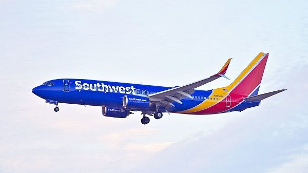 Southwest-airline--aircraft-in-the-clouds