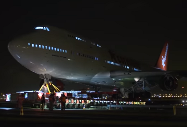 Moving-the-retired-Boeing-747-plane-across-the-road