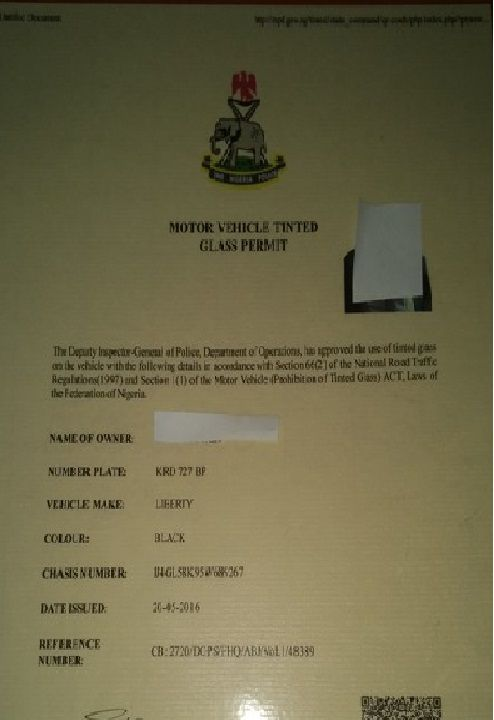 An-npf-tinted-permit-document