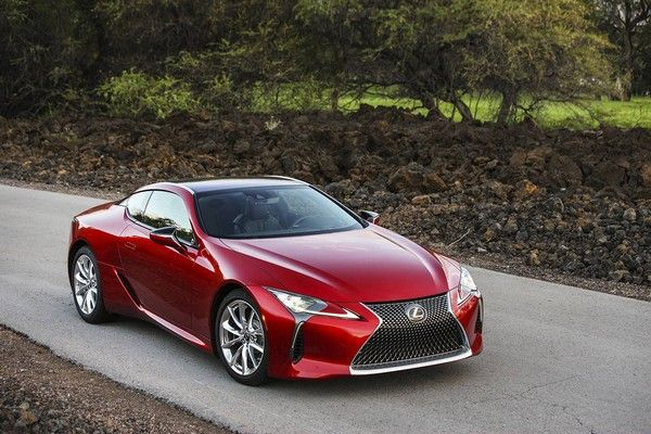 a-red-Lexus-on-road