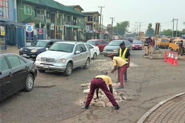 LASTMA-officers-fix-road