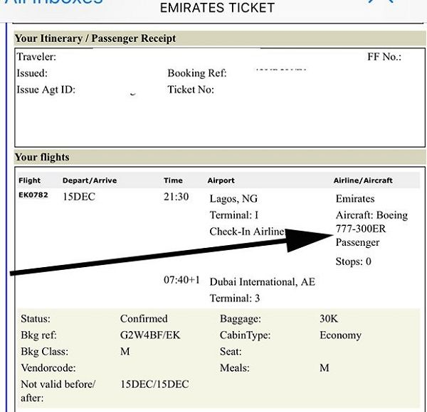 Flight-booking-confirmation-document-with-arrow-pointing-aircraft-type