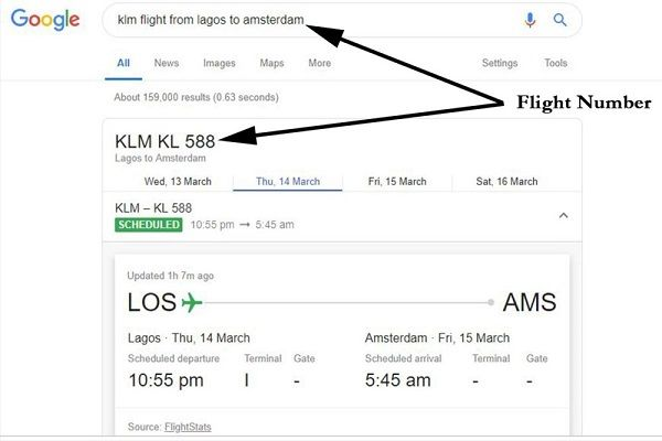 """Google-result-page-for-the-searched-keyword-""""KLM-flight-from-Lagos-to-Amsterdam"""""""