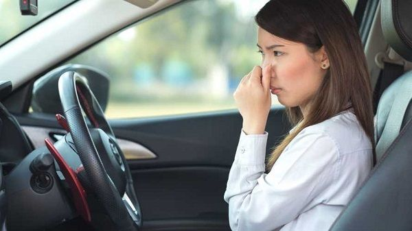 Young-lady-covering-her-nose-from-new-car-smell