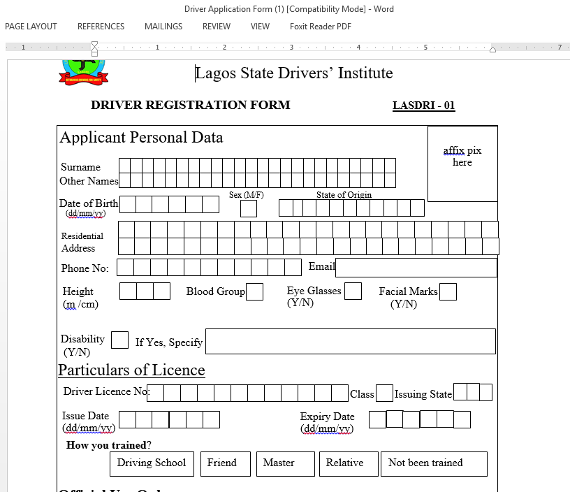 Driver-license-form-by-Lagos-State-Driver's-Institute