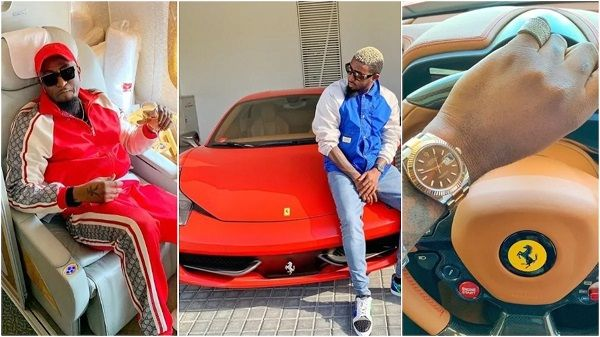 B-Naira-in-jet-and-with=Ferrari-and-gold-watch