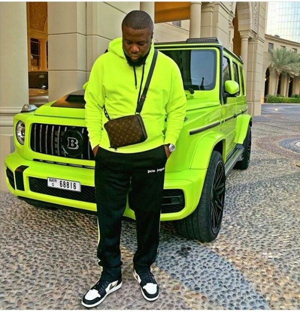 Ray-Hushpuppi-Matching-Outfit-With-Brabus-G-Wagon