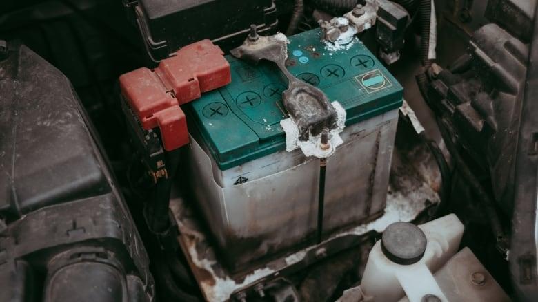 Car-battery-in-a-car-engine-bay