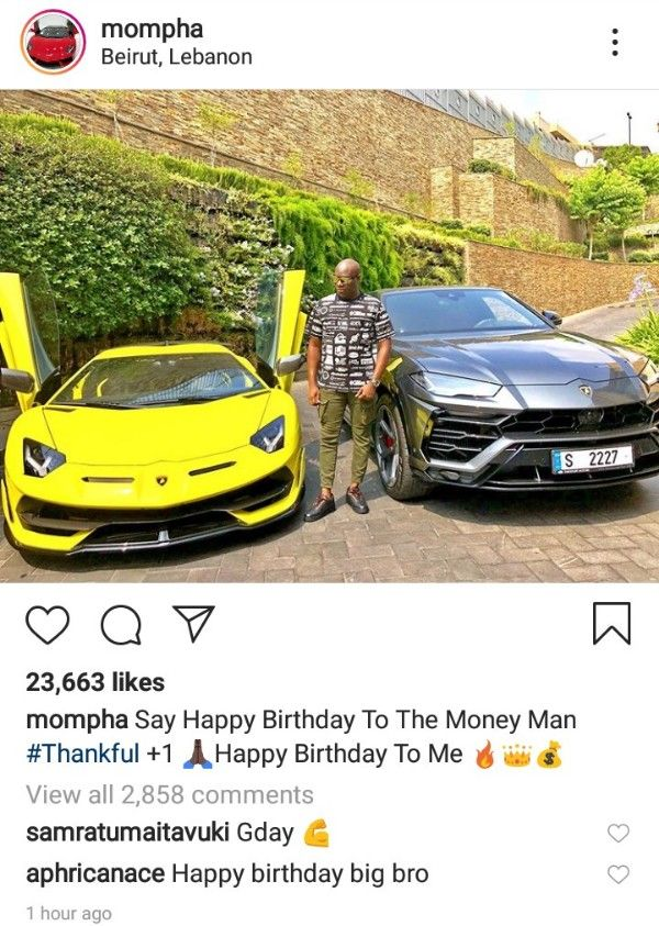 Mompha-pose-with-Lamborghini-Urus-and-sports-car-in-Instagram-birthday-photo