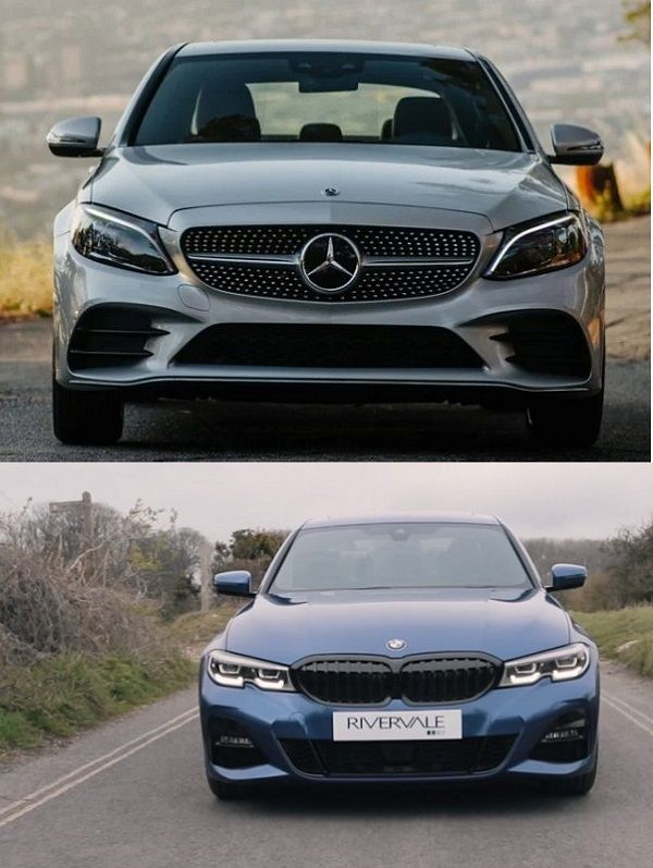 2019-Mercedes-Benz-C300-and-2019-BMW-3-Series-full-frontal view