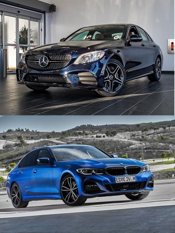 2019-Mercedes-Benz-C300-and-2019-BMW-3-Series-profile-view