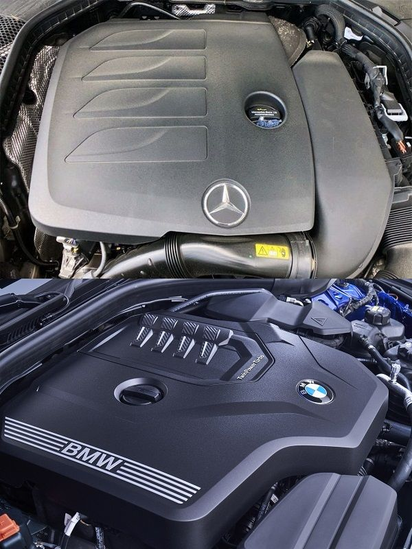 2019-Mercedes-Benz-C300-and-2019-BMW-3-Series-engine