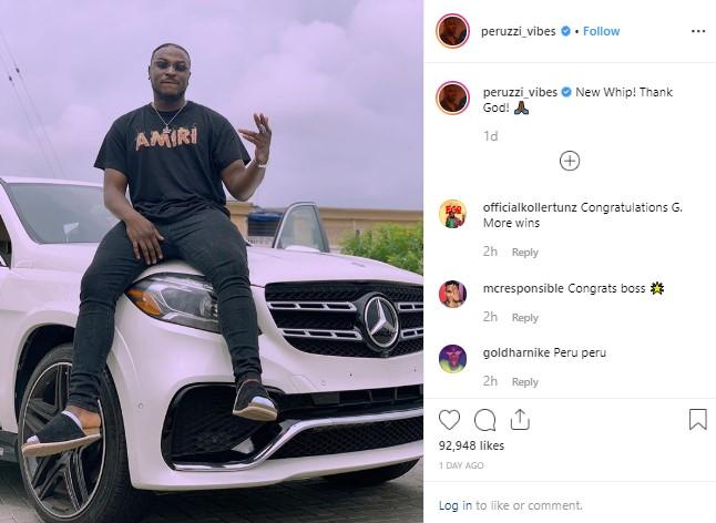 Peruzzi posed with brand new Mercedes Benz on Instagram | naijauto com