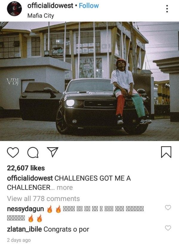 Idowest-poses-with-his-brand-new-Dodge-Challenger-2019-Instagram
