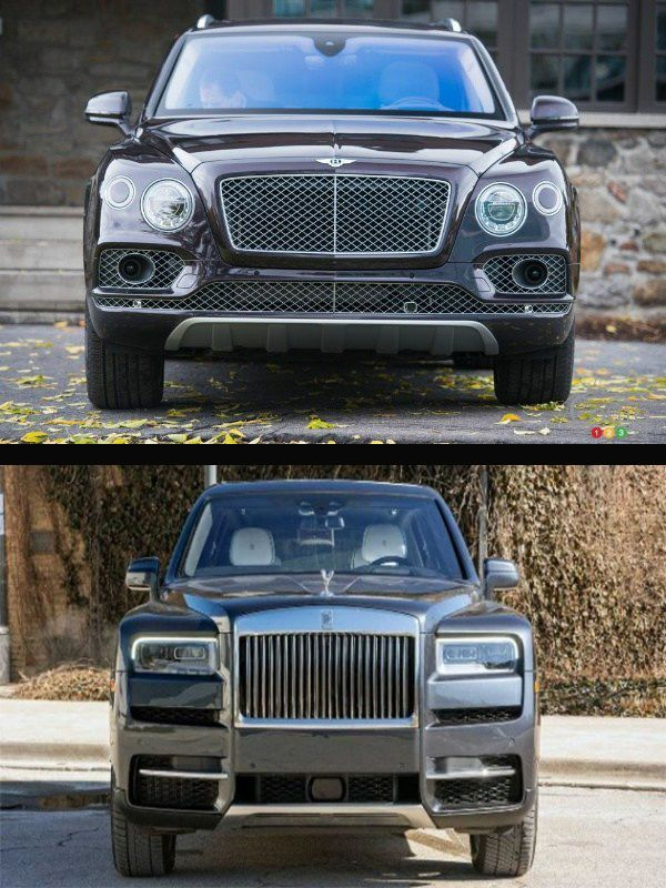 Front-view-of-Bentley-Bentayga-Speed-SUV-and-Rolls-Royce-Cullinan-SUV