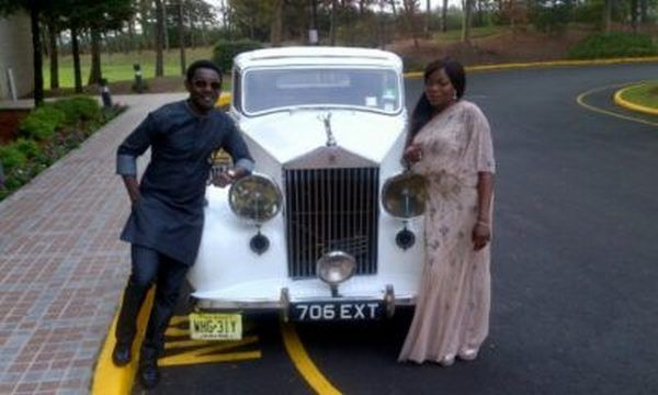 Funke-and-AY-Makun-poses-alongside-her-Classic-Rolls-Royce