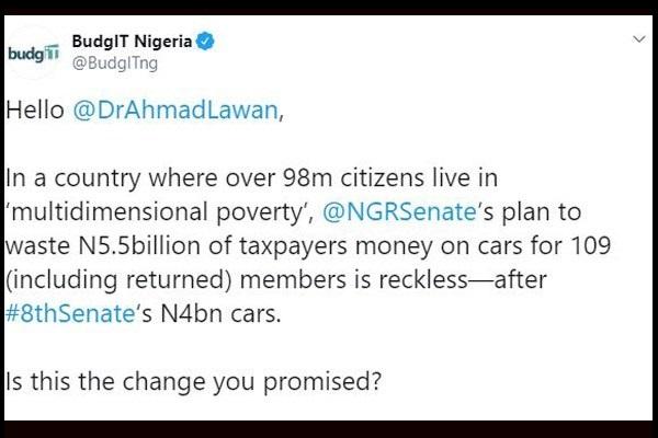 Twitter-BudgIT-Nigeria-complains-on-₦5.5billion-Nigerian-senators-car-allowance