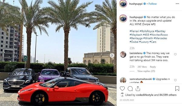 image-of-latest-hushpuppi-IG-post-on-fleet-of-cars