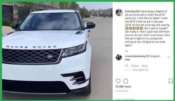 Bobrisky-instagram-post-on-new-car