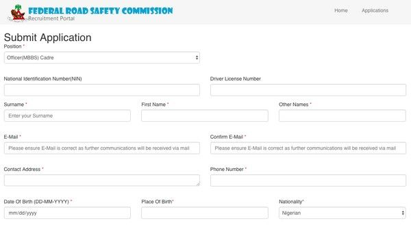 FRSC-online-application-form