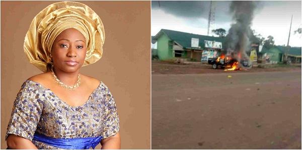 Ekiti-governor-wife-and-burnt-police-van