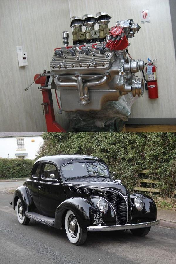 Ford-Flathead-V8-engine-and-1935-Ford-Flathead