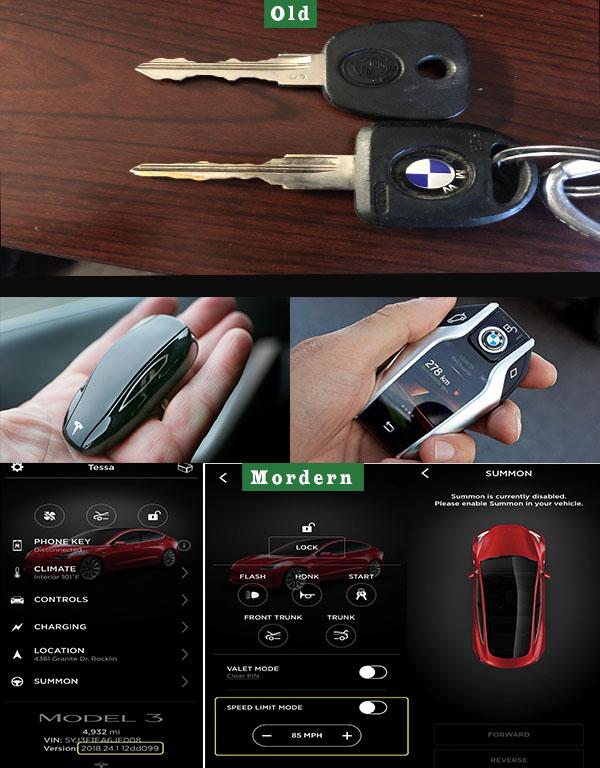 Old-car-car-keys-vs-Tesla-app-and-BMW-smart-key
