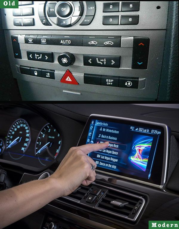 Old-control-buttons-on-car-dashboard-vs-touchscreen-display