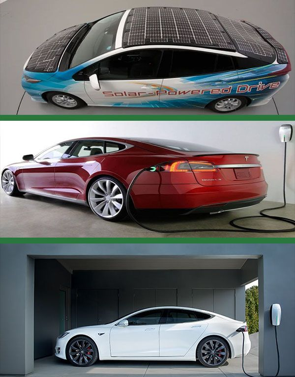 Tesla-electric-car-and-solar-powered-Toyota-Prius